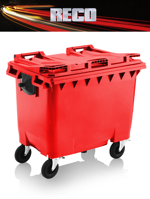 Red 660 Litre Wheelie Bins