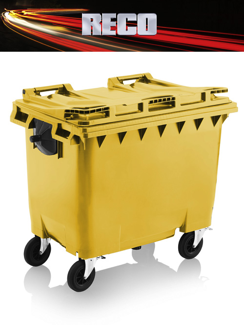 Yellow 660 Litre Wheelie Bins