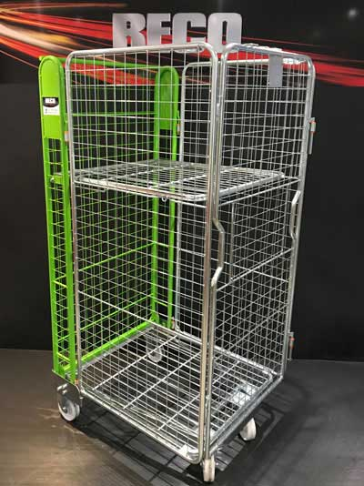 New 4 Sided Mesh A Frame Nestable Roll Cage with Shelf & Green Trombone