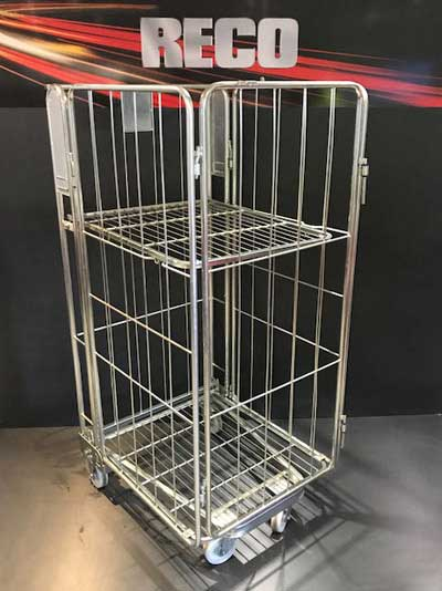 New 4 Sided A Frame Nestable Roll Cage with Shelf
